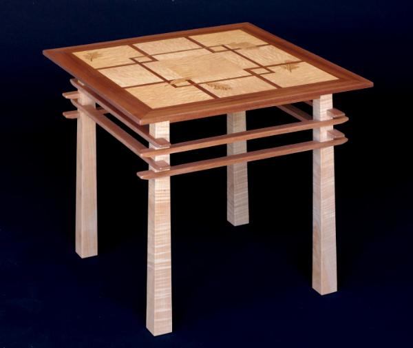 Pagoda Table with Oak Leaf Inlay