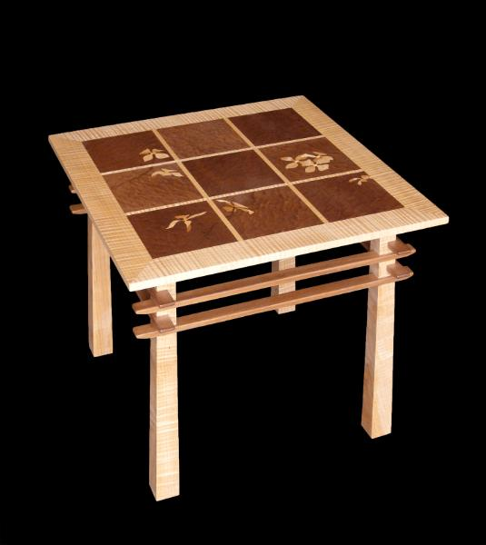 Asian Style Occasional Table with Dogwood Marquetry