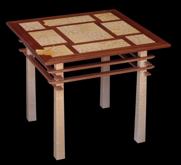 Pagoda Table with Ginkgo Leaf Inlay