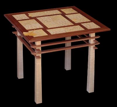 Pagoda Table with Ginkgo Leaf Inlay