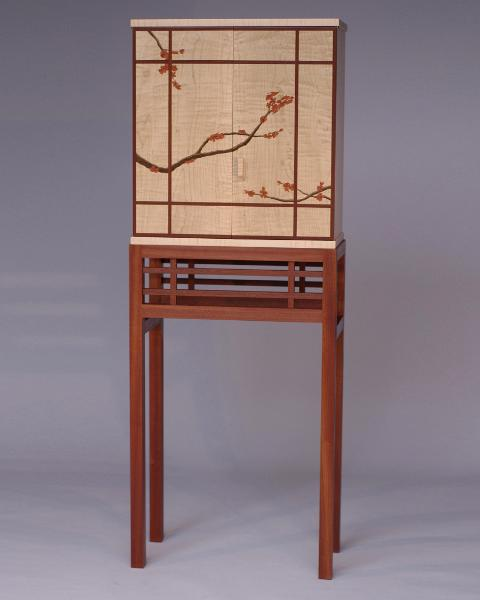 Plum blossom or cherry blossom standing cabinet with marquetry