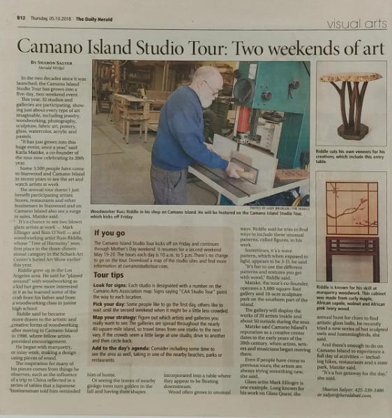 Article on 2018 Studio Tour in Herald